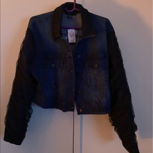 Ashley Stewart chiffon overlayed Jean jacket NWT